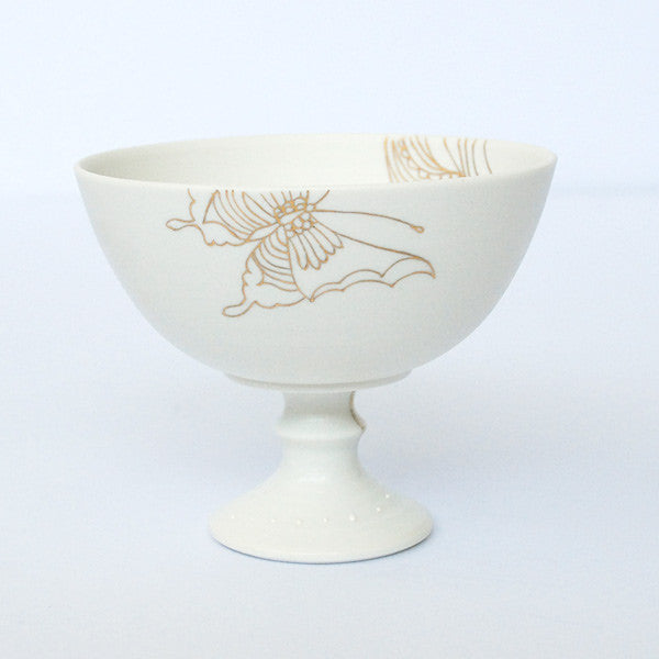 "Gold Painted Porcelain Dessert Cup ""Rin Ran"""