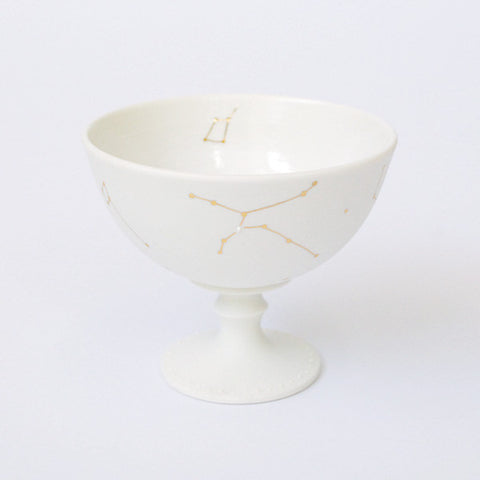 "Gold Painted Porcelain Dessert Cup ""Tanabata"""