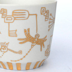 "Gold Painted Porcelain Free Cup ""Faint Spirits"""