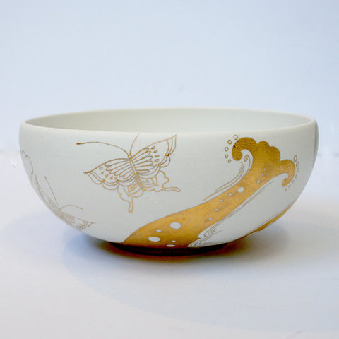 "Gold Painted Porcelain Bowl M ""Forest Keeper"""