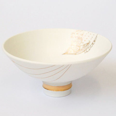 "Gold Painted Porcelain Flat Bowl ""Tanabata: Missing you"""