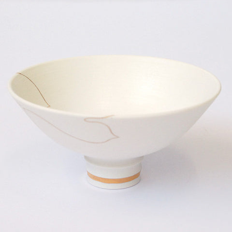 "Gold Painted Porcelain Flat Bowl ""Tanabata: The only wish"""