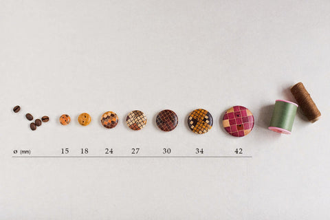 Yosegi Zaiku Wood Parquetry Buttons