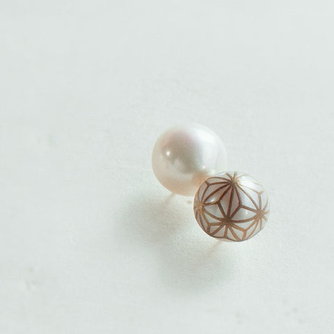 "Maki-e Pearl Earrings ""Asanoha (Hemp Leaf)"""