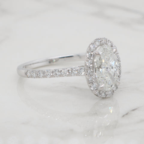 1.5ct Oval Halo Engagement Ring