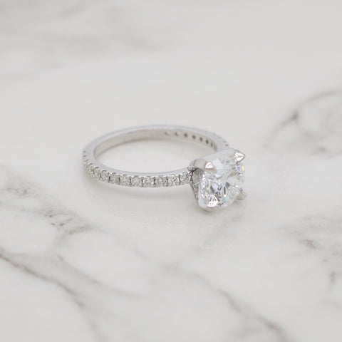1ct Round Petite Pave Engagement Ring