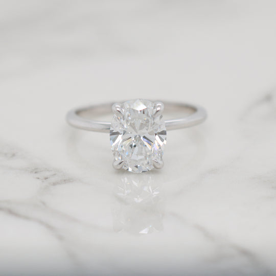 2ct Oval Petite Band with Hidden Halo Engagement Ring