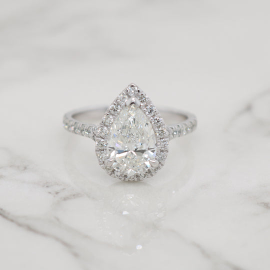 2ct Pear Halo with Split Shank Engagement Ring