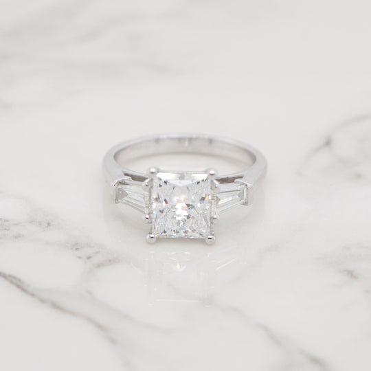 2ct Princess 3 Stone Trapezoids Engagement Ring
