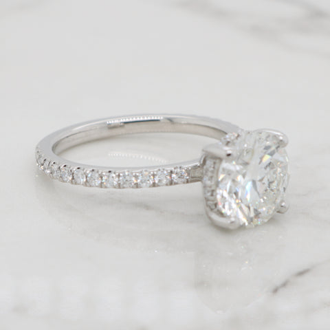 2ct Round Dainty Pave Band with Hidden Halo Engagement Ring