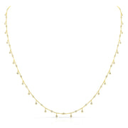 Bezel-Set Diamond Drop Necklace