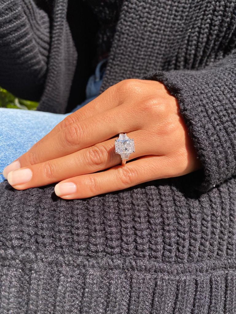 3ct Radiant 3 Stone Trapezoids Engagement Ring