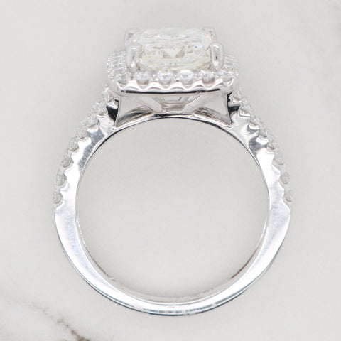 4ct Radiant Halo Engagement Ring