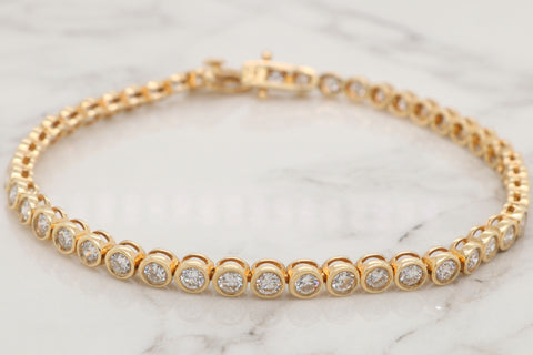 Classic Diamond Bezel Bracelet - 4ct