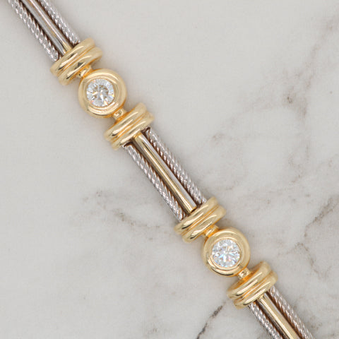 Diamond Bezel and Cable Bracelet