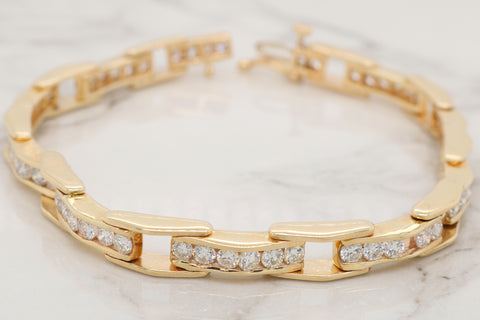 Diamond Channel Link Bracelet