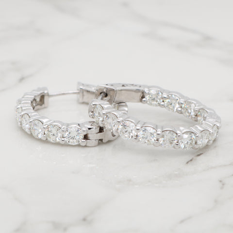 Inside Out Diamond Oval Hoops - 3.50ct
