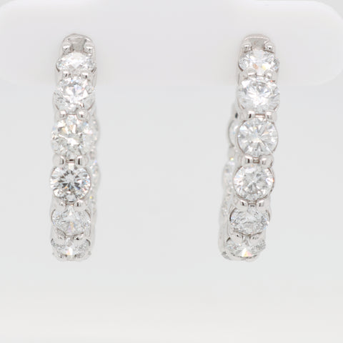 Inside Out Diamond Round Hoops - 4.00ct