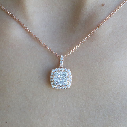 Invisible Cushion Diamond Necklace