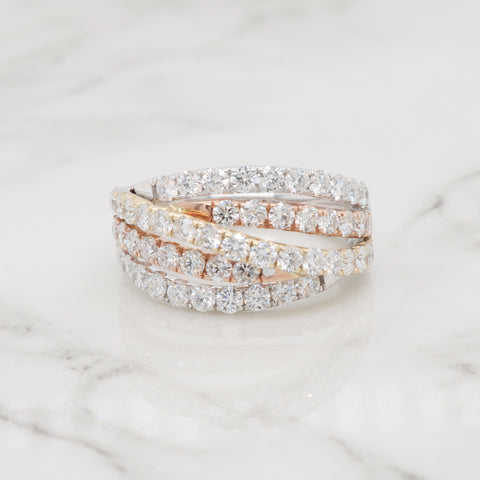5 Row Tri-Color Diamond Ring