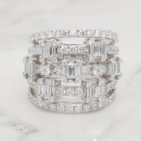 Intricate Round and Baguette Diamond Ring