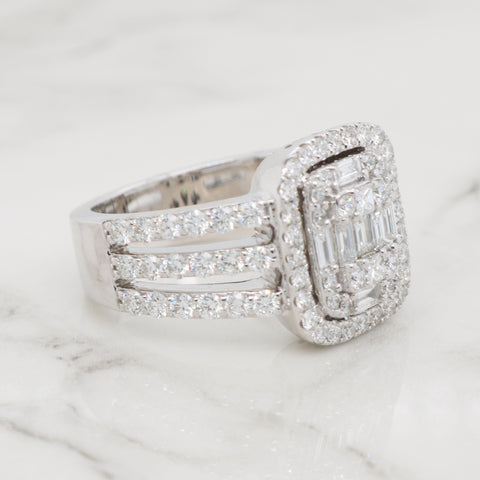 Round and Baguette Mosaic Diamond Ring