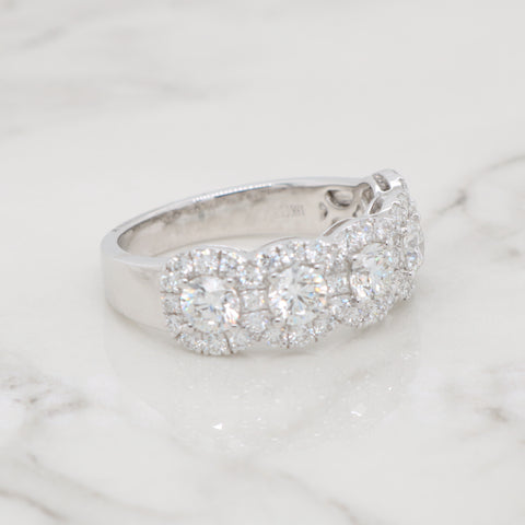 5 Stone Halo Diamond Ring