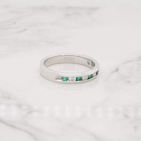 Emerald and Diamond Channel Ring