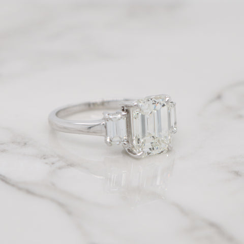 3ct Emerald Cut 3 Stone Engagement Ring