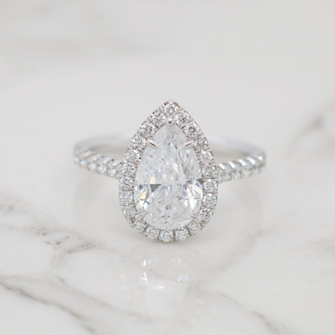 2ct Pear Halo Engagement Ring