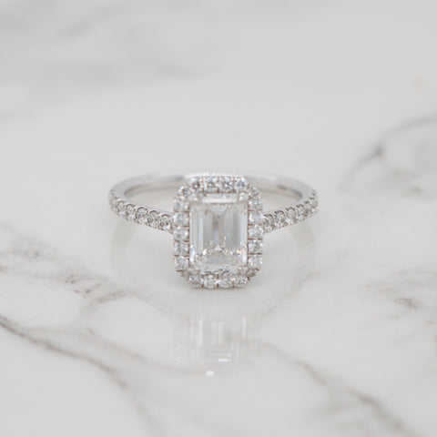 1.21ct Emerald Cut Halo Engagement Ring