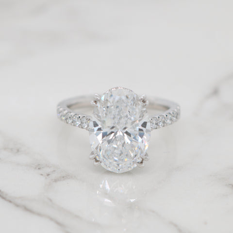 5ct Oval Diamond Band Engagement Ring