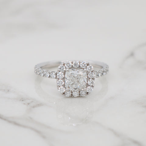 1ct Cushion Halo Engagement Ring