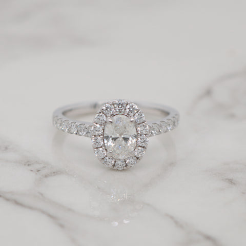 0.70ct Oval Halo Engagement Ring