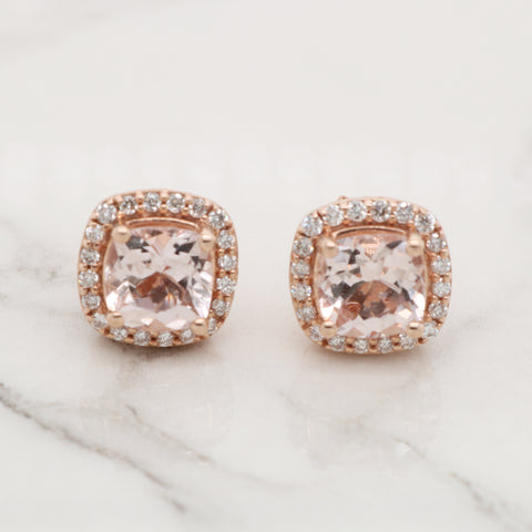 Cushion Morganite Studs