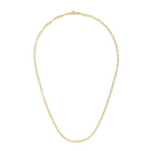Dainty Paper Clip Link 14kt Gold Necklace - 2.1mm