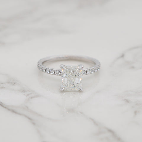 1.7ct Radiant Petite Pave Engagement Ring