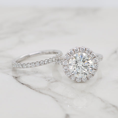 3ct Round Halo Engagement Ring