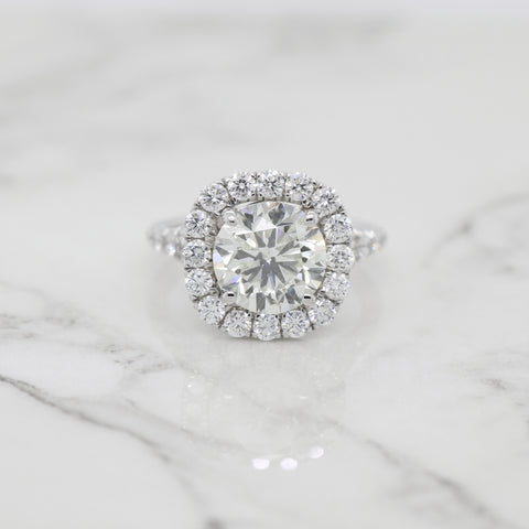 3ct Round Halo with Split Shank Engagement Ring