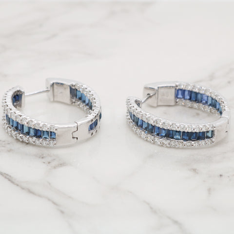 Sapphire and Diamond Inside Out Hoops