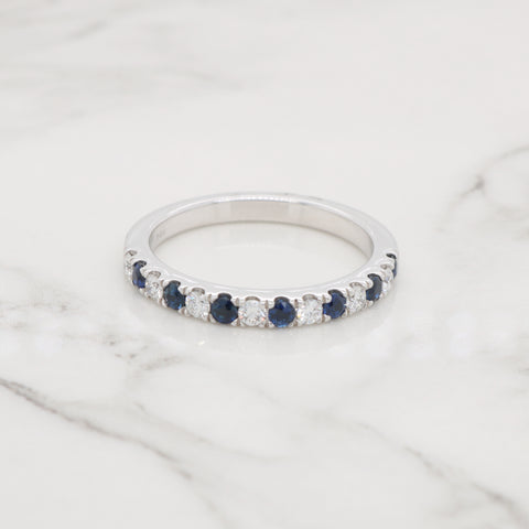 Sapphire and Diamond Pave Band