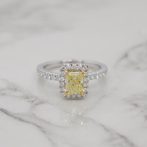 1ct Fancy Yellow Radiant Halo Engagement Ring