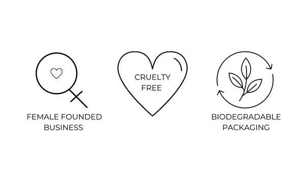 Symbols to represent being a female founded business, cruelty free and using biodegradable packaging.