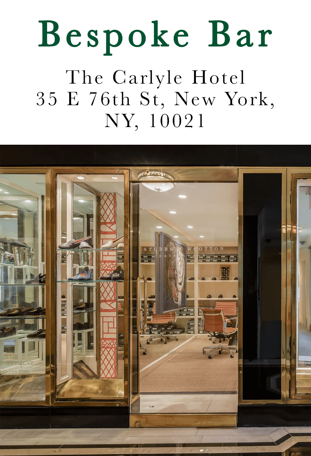 Click for directions - Bespoke Bar - The Carlyle, A Rosewood Hotel 35 E 76th St New York, NY 10021
