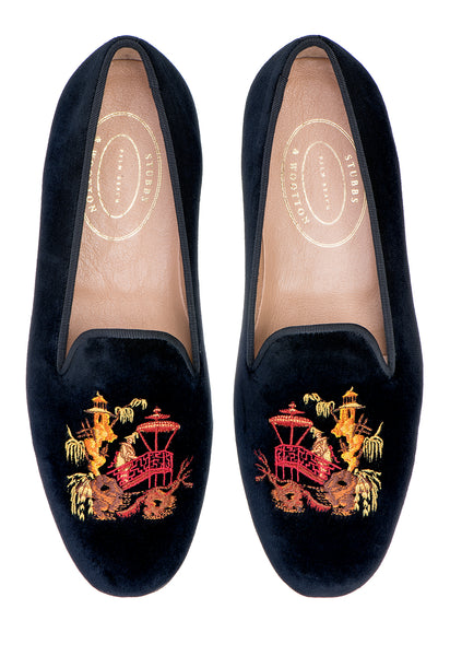 Chinoiserie Black Men Slipper - Chinoiserie Black Men Slipper