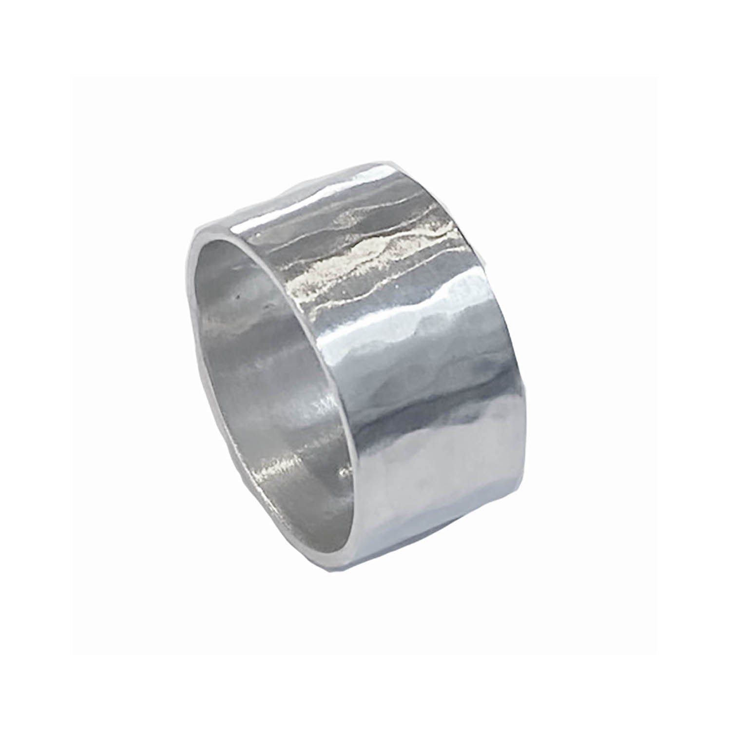 10mm Hammered Band Ring - Sterling Silver