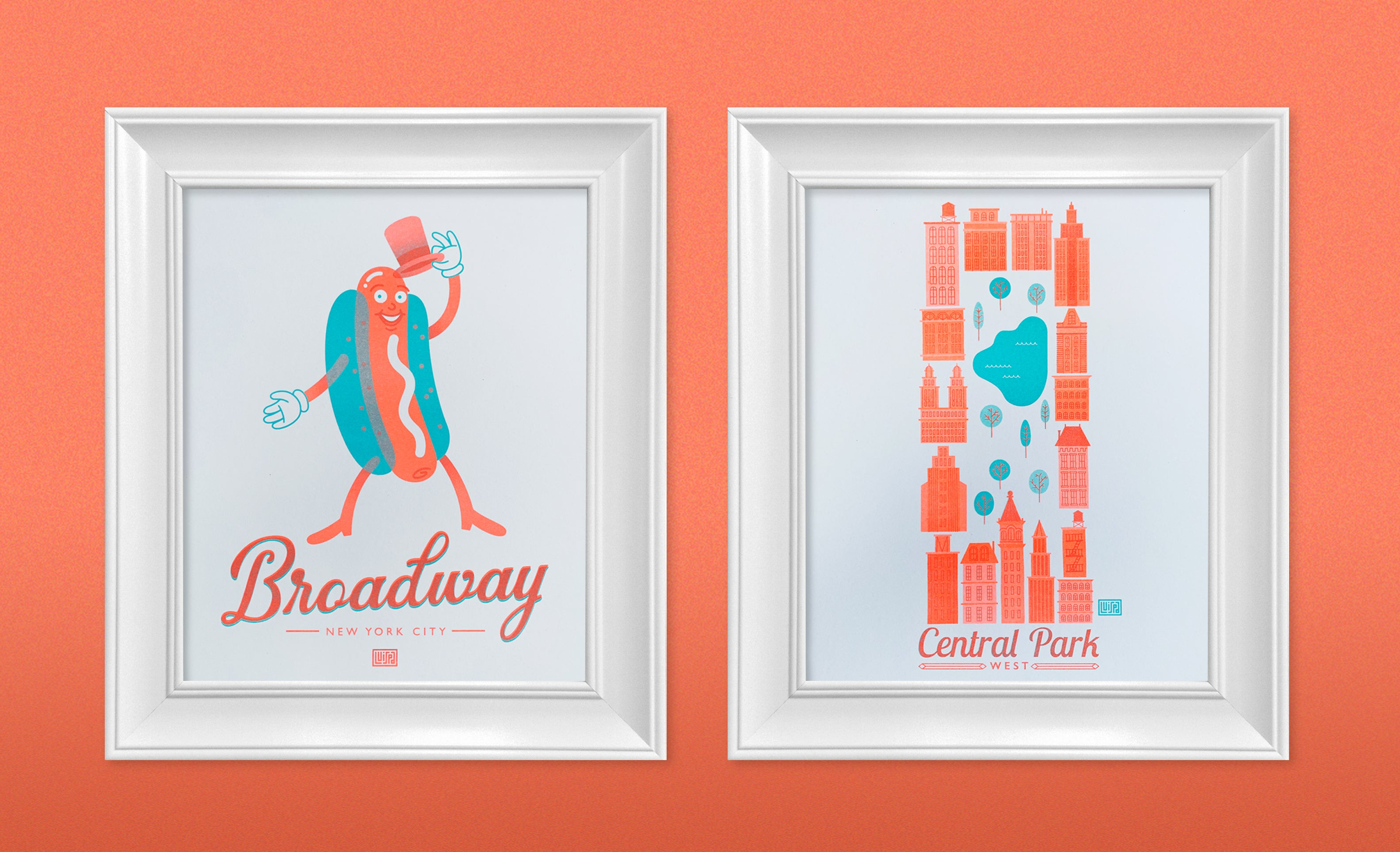 Set of Two Risograph Prints for $40 (Broadway and Central Park)