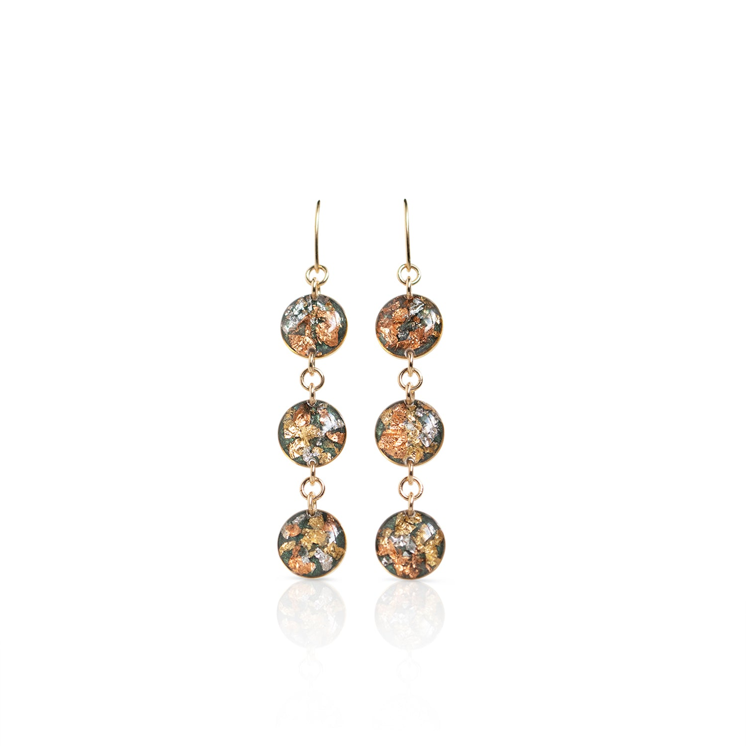 Long Circle Fall Gold Earrings