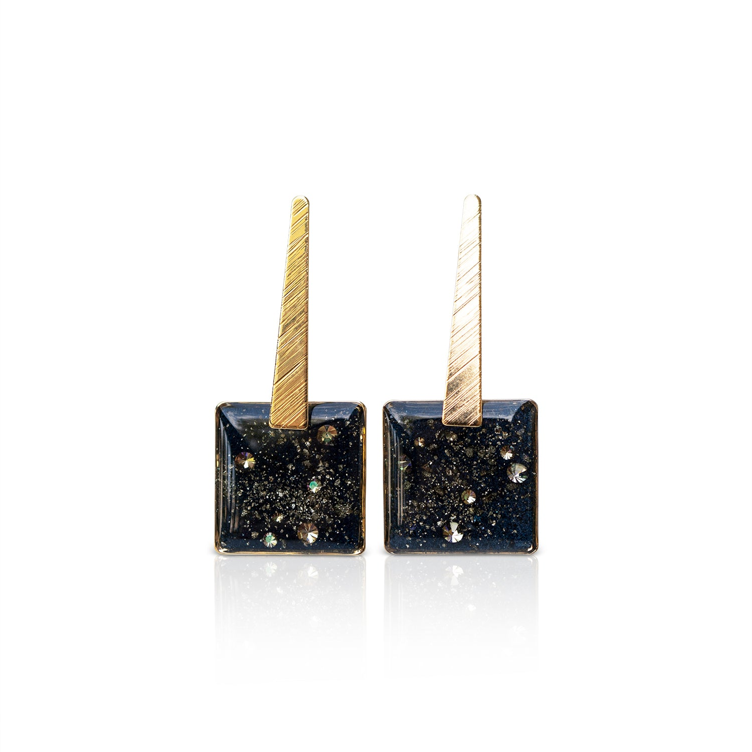 Dangling Square Galaxy Earrings