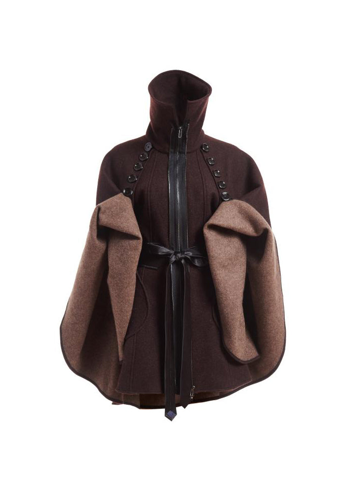 Wool Poncho - Brown